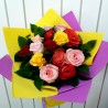 Bouquet of 15 colored roses